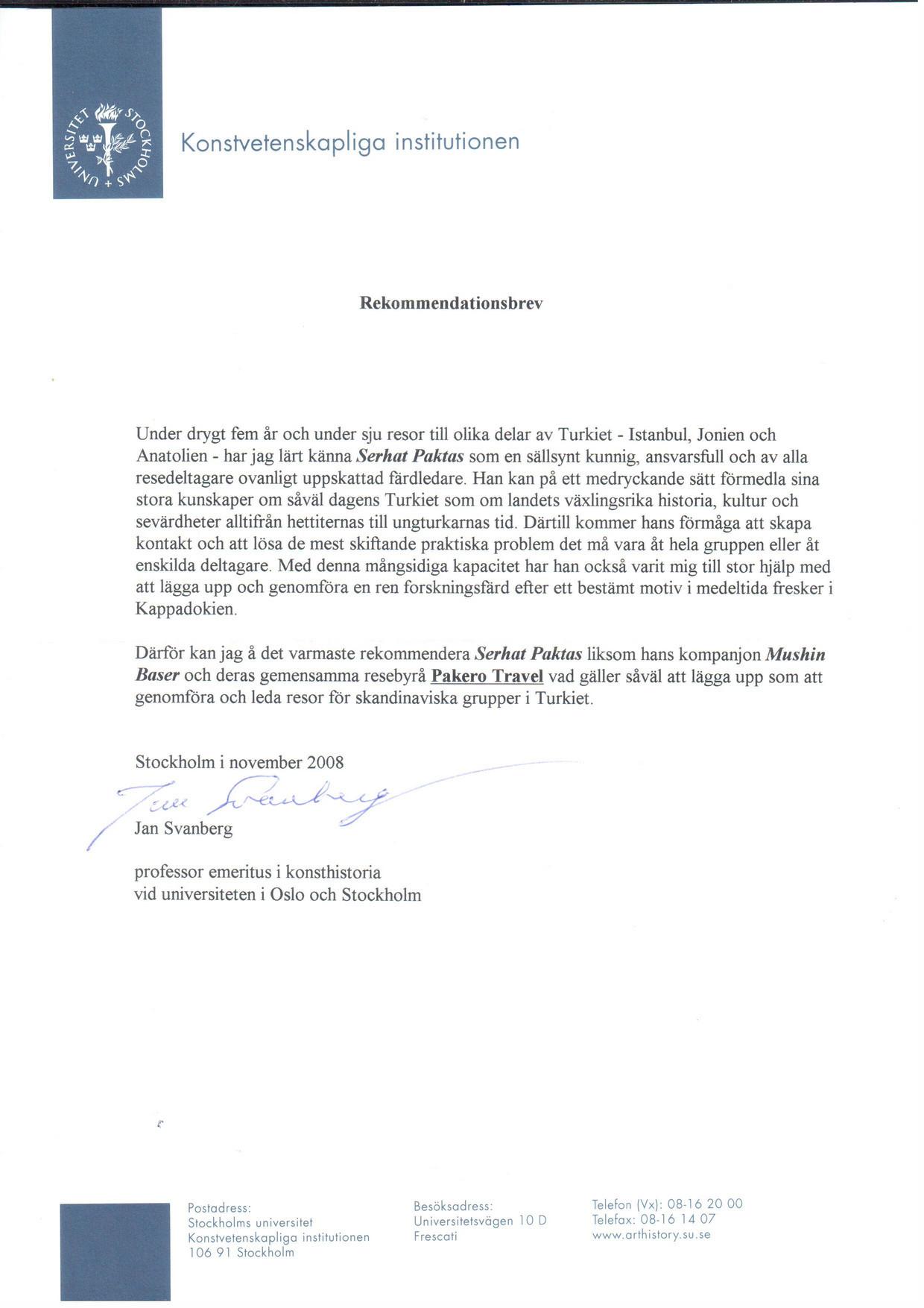 STOCKHOLMS UNIVERSITET - PROF. JAN SVANBERG